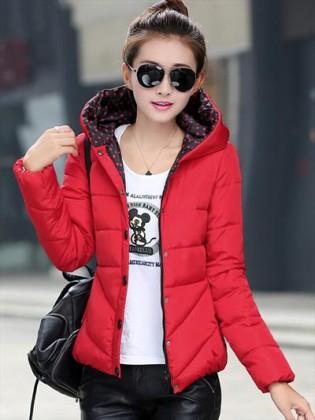 Áo phao nữ Hàn Quốc dáng ngắn lót chấm bi TA103