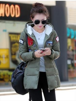 Áo phao nữ Hàn Quốc dáng dài khuy hiệu cá tính TA109