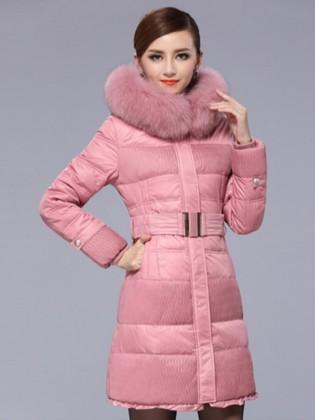 Áo phao dáng dài cổ lông Hàn Quốc AKDJCN0007