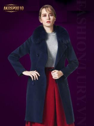 Áo khoác dạ cổ đính lông chồn AKDSP0010