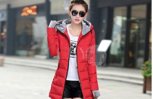 Áo khoác phao nữ dáng dài ấm áp mùa thu đông