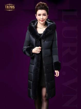 Áo khoác phao chần bông dáng dài tay phối dải lông cao cấp TA285