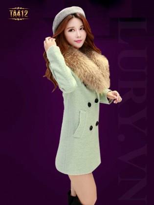 Khoác dạ xù Hàn Quốc 6 cúc đẹp cổ phối lông chồn thời trang TA412