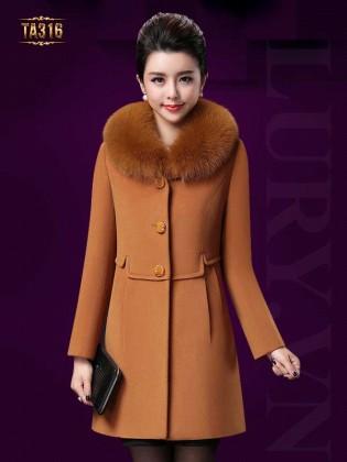 Khoác dạ phối lông chồn cao cấp viền eo thời trang TA316