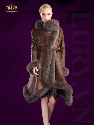 Áo khoác da hàng xuất phối lông chồn cao cấp TA422