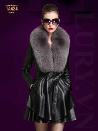 Áo khoác da thật dáng váy phối lông chồn cao cấp kèm đai TA424