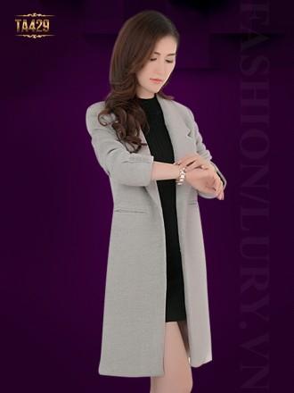 Áo khoác dạ dày cổ vest tay phối 3 nút cúc thời trang TA429