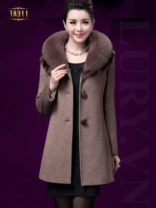 Áo khoác dạ trung niên Hàn Quốc cổ phối lông chồn TA311