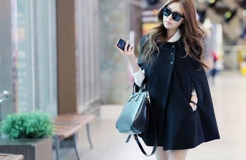 Mẫu áo khoác dạ cape Hàn Quốc đẹp đang mê hoặc các chị em