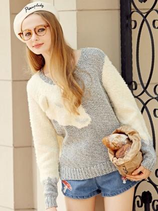 Áo len chui đầu phối màu ghi-trắng TA150