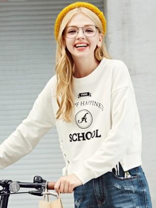Áo croptop SCHOOL trắng thắt dây hông TA153
