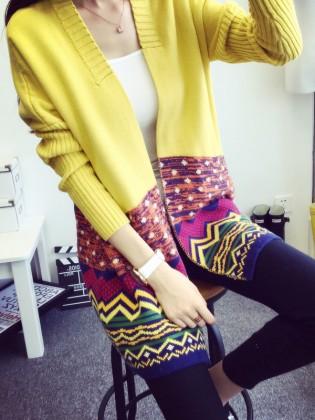 Khoác len cardigan dáng dài họa tiết thổ cẩm TA156