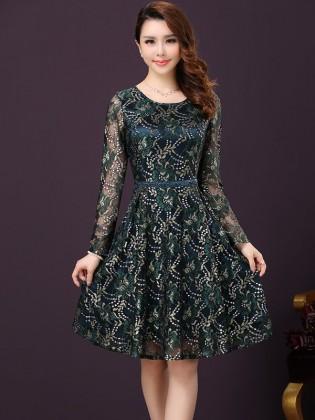 Đầm ren hoa xanh lá dáng xòe thời trang TV268