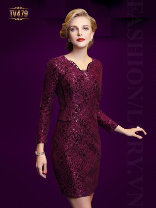 Đầm satin đỏ họa tiết hoa ren cao cấp TV479