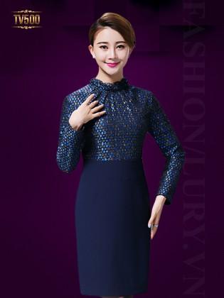 Đầm liền thân họa tiết phối chân váy xanh cobalt TV500