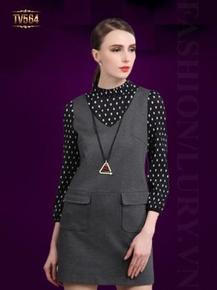 Đầm suông trơn hai túi phối tay chấm bi đẹp TV564 (Màu ghi)