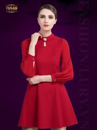 Đầm xòe trơn cổ khoét giọt lệ đính hạt cao cấp TV568 (Màu đỏ)