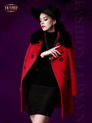 Áo khoác dạ đỏ cổ lông Hàn Quốc cao cấp TA1202