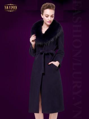 Áo khoác dáng dài cổ lông Hàn Quốc cao cấp TA1203 (Màu tím)