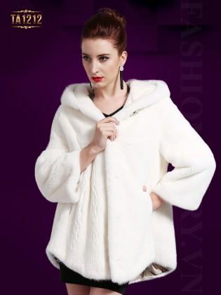 Áo khoác lông cổ mũ màu trắng cao cấp TA1212