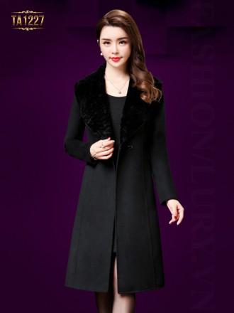Áo khoác dạ dài 1 cúc cổ lông TA1227 (Màu đen)