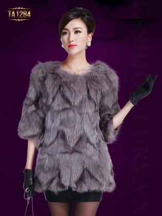 Áo khoác lông Hàn Quốc tay lửng không cổ nhập khẩu cao cấp TA1284 (Màu xám)