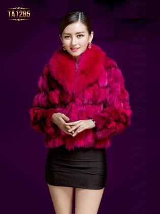 Áo choàng lông HQ dáng ngắn cao cấp TA1285 (Màu hồng)