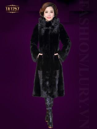 Áo khoác nhung lông màu đen dáng dài cổ trụ cao sang trọng TA1257 (Màu đen)