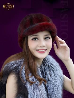 Mũ lông nhung vành nhỏ nhập khẩu Hàn Quốc ML1261 (Màu đỏ)