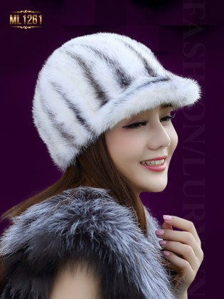 Mũ lông nhung vành nhỏ nhập khẩu Hàn Quốc ML1261 (Màu trắng)