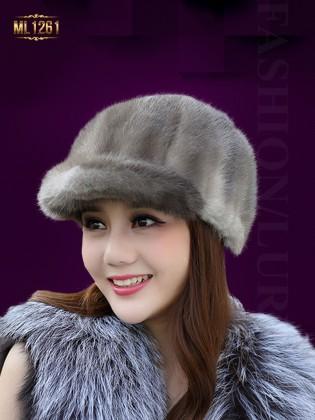 Mũ lông nhung vành nhỏ nhập khẩu Hàn Quốc ML1261 (Nâu xám)