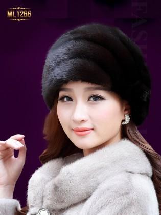 Mũ lông HQ viền ngang đính đá thời trang ML1266 (Đen cafe)