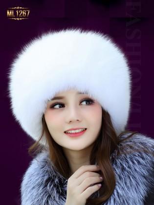 Mũ da HQ phối viền lông nhập khẩu cao cấp ML1267 (Màu trắng)
