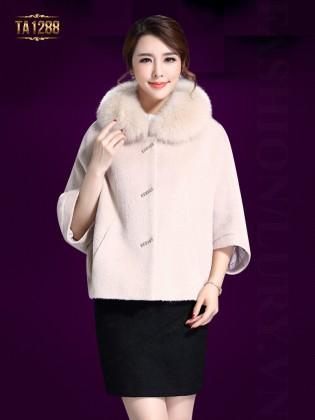 Áo khoác dạ cape cổ lông tay lửng thời trang TA1288 (Màu kem)