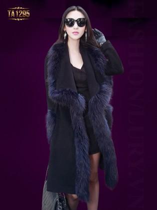 Áo dạ Hàn Quốc dáng dài viền lông TA1295