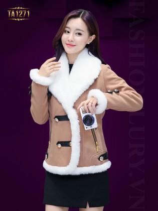 Áo khoác dạ ngắn túi khóa phối viền lông trắng cao cấp TA1271