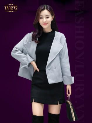 Áo khoác dạ vest dáng ngắn tay lật thời trang TA1272