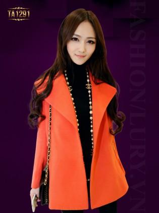 Áo khoác dạ cam ngắn Hàn Quốc túi khóa thời trang TA1291