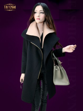 Áo khoác dạ đen khóa kéo phối cổ màu cao cấp TA1294