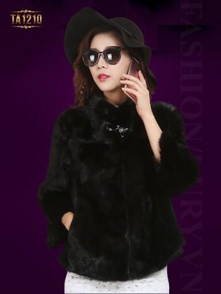 Áo khoác lông dáng ngắn 2 túi màu đen cao cấp TA1210