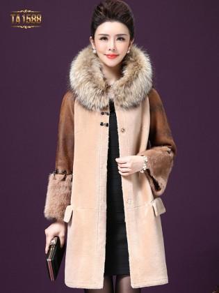 Áo khoác nhung TA1588 2017 phối lông cừu tay da cao cấp