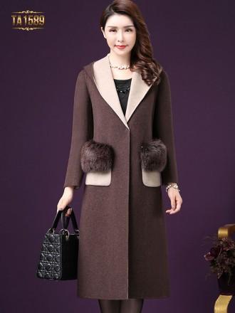 Áo khoác dạ nữ  TA1589 mới  phối lông tự nhiên cao cấp
