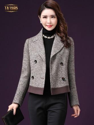 Áo khoác TA1595 mới  chất dạ len cừu ngắn cổ vest 4 cúc sang trọng