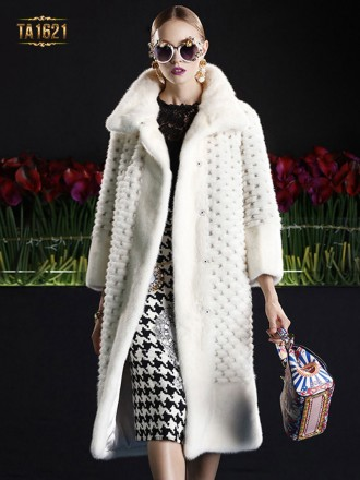 Áo khoác TA1621 mới 2017 lông trắng cao cấp đính họa tiết chìm sang trọng