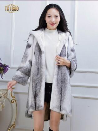 Áo khoác TA1600 mới 2017 chất lông thú 100% tự nhiên dáng oversize xẻ vạt