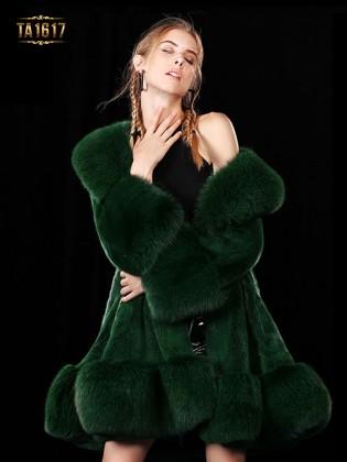 Áo khoác TA1617 mới 2017 chất lông thú 100% dáng oversize gắn dây đai (Xanh lá)