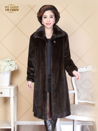 Áo khoác TA1605 mới 2017 chất lông thú 100% tự nhiên dáng dài kèm mũ