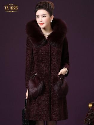 Áo khoác TA1626 mới 2017 chất nhung màu bã trầu phối lông cao cấp