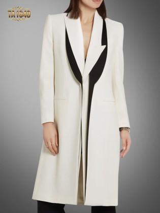 Áo khoác dạ dài đẹp  2017  cổ xếp lớp màu trắng thời thượng TA1640