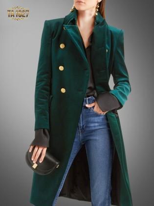 Áo khoác dạ nhung xanh cổ vest TA1627 thiết kế mới phiên bản 2017